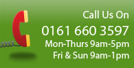Call Us On 0161 660 3597, Mon-Thurs 9am-5pm, Fri & Sun 9am-1pm